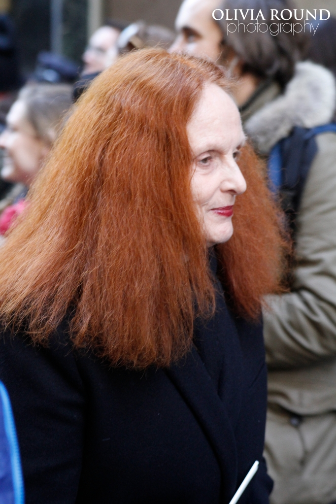 Grace Coddington shot outside the Calvin Klein show