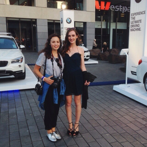 My cousin Tessa and I working as media gals at Britomart Fashion Sessions