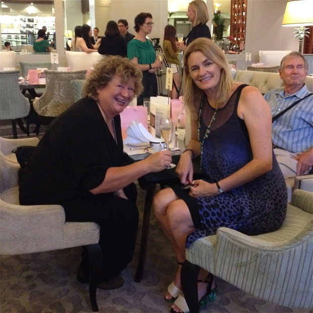 One of NZ's most talented and highly respected chef's Annabelle White with photojournalist / jazz vocalist Maggie Gould at the Wedgewood launch hosted by The Langham, AKL