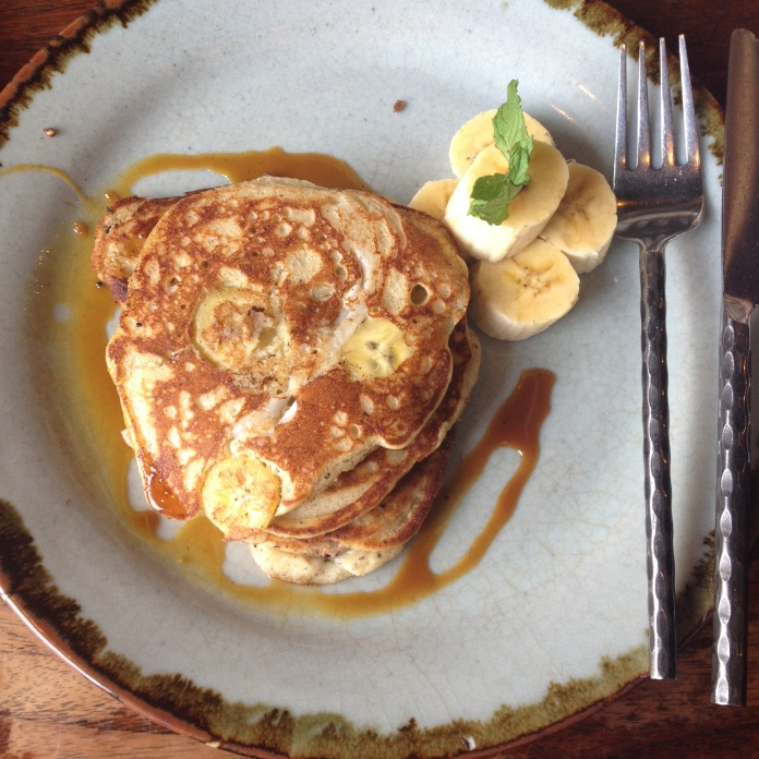 Banana and maple vegan pancakes with coconut yoghurt (no pictured)