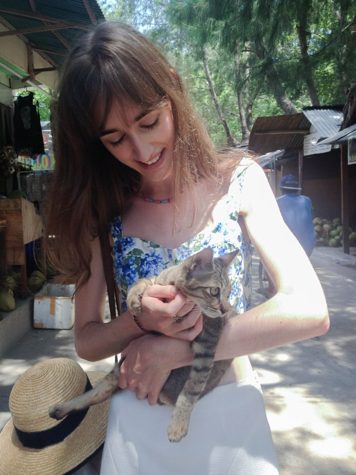 Me looking smitten with the Gili Dive Centre cat