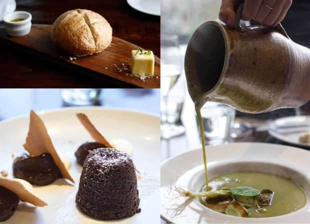 Amisfield Winery // For the entree we had toasted sourdough, main was leek and potato soup and dessert was a chocolate fondant, tamarillo ice-cream and assorted profiteroles