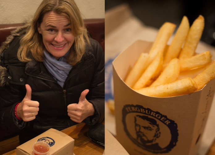 FERGBURGER. Mum excited to eat her beer battered fish burger, Onion rings & chips.