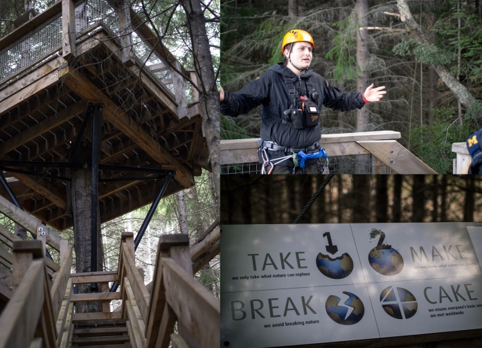 The tree house // Conservation talk // Eco signs at each station