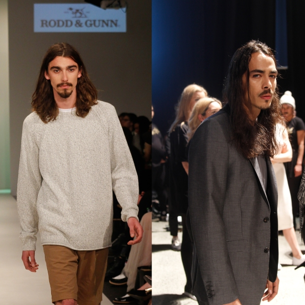 The long haired male models. Gone are the days of top knots and man buns, now men are growing it out 2001 Johnny Depp style. Particular reference to Clyne models Hunter and Karl who look like members of an indie rock band and are often mistaken for brothers.