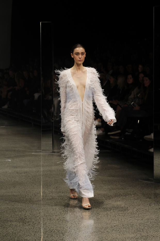 Project Runway winner Sean Kelly's white fringing wrap sashayed elegantly and the fabric was the perfect level of sheerness that successfully won the classy card as opposed to looking trashy. Love!