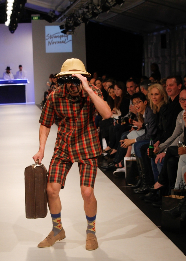 The Strangely Normal collection, was strangely – not normal, which the audience loved. Models walked out personifying David Attenborough with binoculars and safari hats or James Dean in tartan pants with a tucked in merino and blouson jacket. A fun collection with great roots of inspiration.